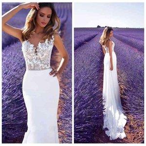 2021 Beautiful Mermaid Wedding Dressesla Lace Appliques Slim Chiffon Country Farm Beach Bridal Wedding Gowns Vestido De Novia