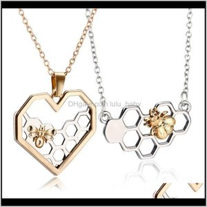 Charm Fashion Sier Necklaces For Women Girl Heart Honeycomb Bee Animal Pendant Choker Necklace Jewelry Party Prom Gift Xzhts Jsdvo