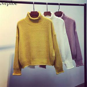 NEPLOE Meia Turtleneck Mulheres Sólidas Tops Blusas De Malha Outono Inverno Grosso Breve Pullovers Coreano Moda Curto Knitwear 681611