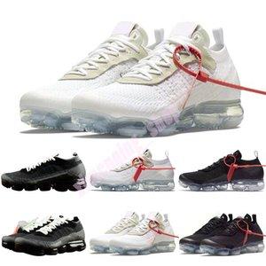OFF WHITE for Nike Air VaporMax 2018 2.0 يطير 2.0 II متماسكة رجل أحذية الترفيه أسود أبيض عارضة تنفس أحذية رياضية الحجم 36-46 GD