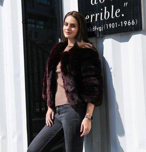 Women's Fur & Faux Wine Fluffy Coat Women Long Sleeve Fashion Cropped Jacket Plus Size S-4XL Winter Artificial Furry Outwear