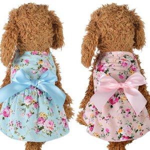 Summer dog apparel Pet Clothes Dress for dogs Princess Wedding flower printed dresses