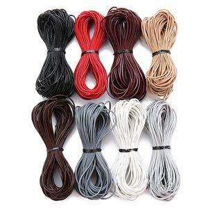 10 meter / lotto 2mm 100% genuino cordino di cuoio rotondo cordone di cuoio per il braccialetto di cuoio del braccialetto della corda della corda dei monili della collana che fa trovare 1192 q2