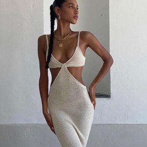 Férias Maxi Maxi Vestidos para Mulheres Verão 2021 Elegante Party Sexy Recorte Backless Bodycon Dress S-L 042702