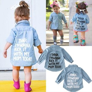 2 7y Autumn Toddler Kids Baby Girl Shirts Tops Clothes Denim Letter Print Long Sleeve Shirt Warm Coat