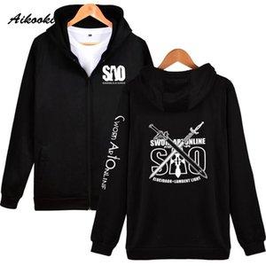 Aikooki Sword art online Zipper hoodies Men Women Japan Anime Hip Hop High Quality Hoodies Zipper men women Sweatshirt Clothes