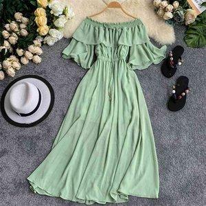 2020 Summer Fashion Maxi Long Beach Dress Stretch Slash Neck Strapless Flare Sleeves Ruffled Fairy Causal Runway Dress Women LJ200915