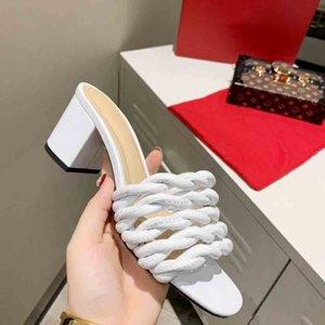 2021 women high heel dress shoes fashion ladies mesh square toe sandal designer woman office party shoe with box size 35-42