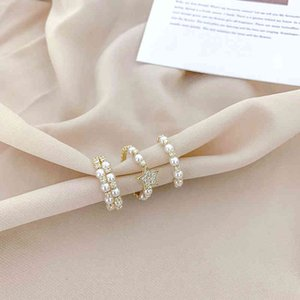 Korean sparkle diamond pearl mouth sweet and gentle index finger ring, female personality, versatile fashion star ring