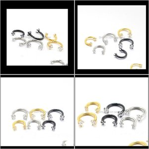 Nose Rings & Studs Body Drop Delivery 2021 Double Headed Zircon U Shaped Horseshoe Ring Piercing Jewelry Bcr Universal Eyebrow Nail Lip Clear