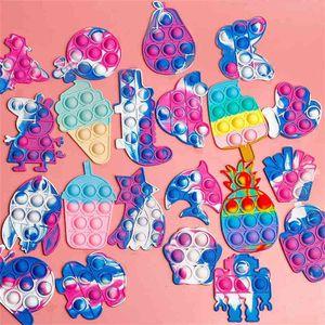 Creative Push Pop Mini Fidget Toys Key Chain Tie Dye Fashion Children's Poppers Bublles Decompression Silicone Toy Pandents Key Ring G94UWZN