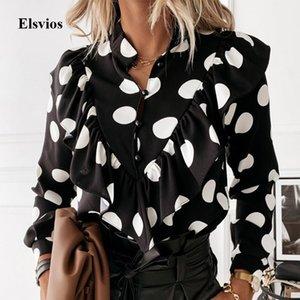 숙녀 폴카 도트 프린트 러프 블라우스 셔츠 2020 가을 겨울 긴 소매 V 넥 셔츠 탑스 우아한 사무실 여성 버튼 Blusas