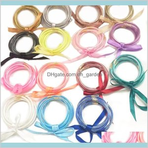 Charm Bracelets Jewelry Bracelet Sell 5Pcs All Weather Bangles Set Glitter Filled Sile Plastic Bowknot Jelly Summer Drop Delivery 2021