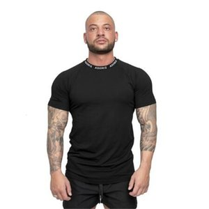 Neck Fashion Letter Gym Quick Drying Men Fitness Running Shirt Man Fit Short Sleeve Training T Shirt Mens Sportswear Tshirt