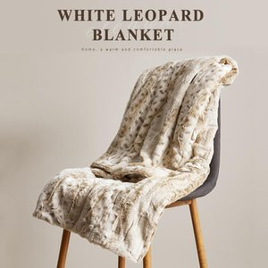 The Thick White Leopard Blanket Double-layer Nap Sofa Warm Knee Throw Home Decoration 130X160CM Blankets