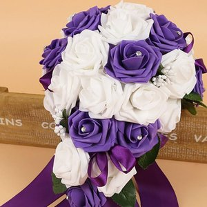 Handmade New Wedding Bridal Bouquet Bride holding flowers Artificial Rose Flowers Ribbons rhinestones wedding Decoration 535 V2