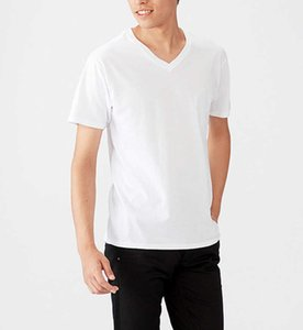 High Quality Cotton Men's T-Shirts Casual Black White Gray Short Sleeve V Neck Male Tee W836
