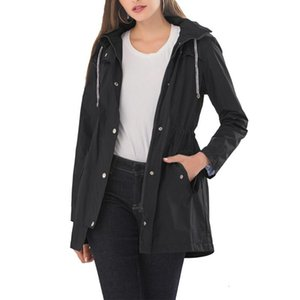 Women Coat Hooded Trench Draw Back Drawstring Design Horizontal Stripes Casual Mid-length Pocket Decoration Women's Jackets