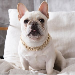 Hip hop Teddy fadou dog big gold chain small and medium Dog Collars pet Necklace outdoor cat accessories 4 color T2I51860