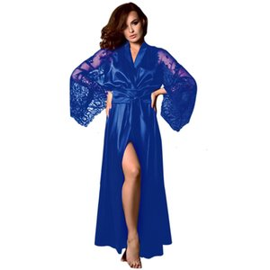 men's and womens ClothingLong Silk Pajamas Nightdress Women Lace Satin Sleepwear Robe Nightgown Sexy Lingerie hot @XHCVS7