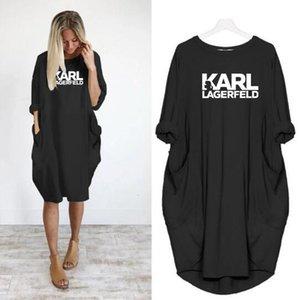 2019 Женщины KARL Повседневная Свободное платье Письмо Весна Осень Большой Размер 4XL 5XL Плюс Размер Одежда Одежда Платье