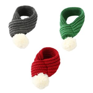 1PC Winter Warm Pet Supplies Pet Fashion New Year Knit Scarf Cat Dog Scarf Accessories Red Gray Green S M L Size