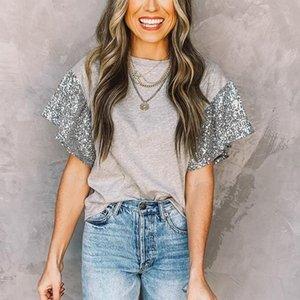 Sequin Stitching T Shirt Women Casual Fashion Loose Comfort Solid T-shirt 2021 Ruffle Short Sleeve T-Shirts Women's