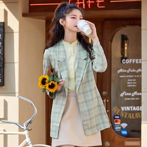 Casual Suit Women 2021 Spring Trend Hit Color Retro Check Professional Women'S Commuter Suits & Blazers