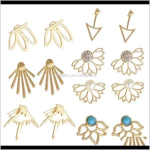 Bracelet, & Necklace Sets Drop Delivery 2021 7 Pairs Ear Jacket Stud Lotus Flower Earrings Women And Girls Set For Ears Simple Chic Jewelry P