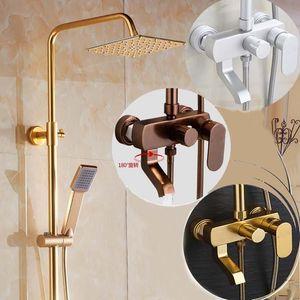 Bathroom Shower Sets Space Aluminum Gold Bath Faucet Set Vintage Black Taps Mixer
