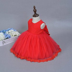 Girl's Dresses Girl Party Big Bow Lace Sleeveless Baby Princess Kids Performance Clothes 0-18M 611 VHZ5