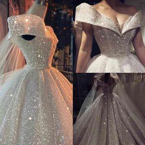 Luxury Ball Gown Wedding Dress 2020 V Neck Sparking Fabric Dubai Bridal Backless Shining White Formal Wear Plus Size