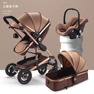 Cochecito de bebé con asiento de coche 3 en 1 Canasta de carruaje de viaje de lujo y cochecito de cochesitos de 428 U2
