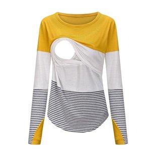 Maternity Tops & Tees Envsoll 2021 Spring Wear Mother Feeding Stripe Contrast Long Sleeve Nursing T-Shirt For Pregnant Women