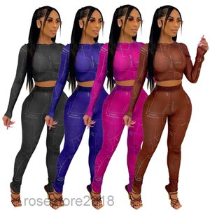 Two Piece set Sexy Womens Outfits Long Sleeve Mesh Letter Bodycon Women Fashion Clothing Clubwear AA409