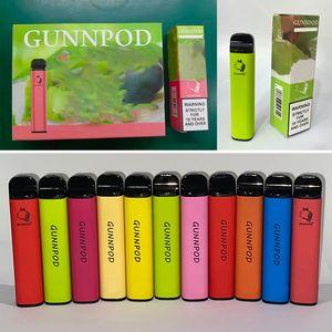 Gunnpod Tek Kullanımlık Vape E Sigara 2000 Puffs Cihazı 1.6ohm 8ml Pod 1250mAh Pil 5% 20 Renk Buhar