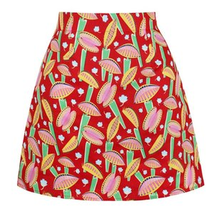 Skirts 2021 Cotton Summer Sexy Mini Skirt SS0008 Women Ladies Punk Gothic Floral Print Vintage A Line Short Red Faldas