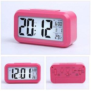 Smart Sensor Nightlight Digital Alarm Clock with Temperature Thermometer Calendar Silent Desk Table Clock Bedside Wake Up FWB10329
