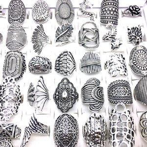 Vente en gros 100pcs / lot antique argent plaqué femme Bohemian Bohemian Bijoux Bagues Mélanges Type de doigt Doigt Bague Cadeaux Tout neuf