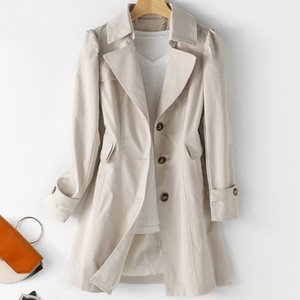 Women Trench Coat 2020 Spring Fashion Woman Classic Puff Sleeve Single Breasted Waterproof Raincoat Business Outerwear 874x#