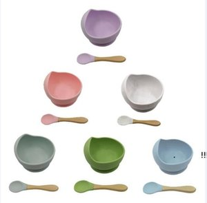 Baby Silicone Bowl Spoon Maternal Infant Feeding Cutlery Suction Cup Complementary Food Drop Proof Set EWA4894