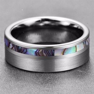 Lüks Yüksek Cilalı Klasik Basit Abalone Kabuk Erkekler Çelik Tungsten Yüzük Gümüş Erkekler Alyans Takı 594 Q2