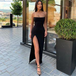 Casual Dresses Macheda Autumn Women Spaghetti Strap Party Dress Sexy Split Solid Slim Lady Ankle Fashion Length Vintage Wear