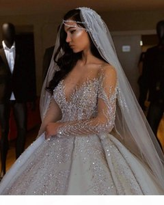 Dubai Arabic Ball Gown Wedding Dresses Plus Size Sweetheart Backless Sweep Train Bridal Gowns Bling Luxury Beading Sequins Wed Dresses