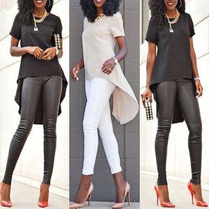 Design Fashion Sexy Donne Donne Signore Allentati Chiffon Top Manica corta Camicia Casual Irregulari Solid Color Summer Camicetta Top S-5XL Dimensione