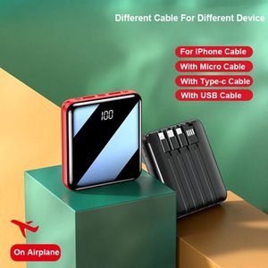 10000mAh External Battery Mini Power Bank Mirror Screen Digital Disply Portable Poverbank For Smart Mobile Phone Powerbank bulid in 4 cables YM185S