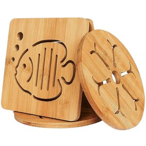 Table Runner Heat Resistant Non-Slip Bamboo Trivets Pot Mat For Kitchen - 4Pcs Pan Pads (16cm)