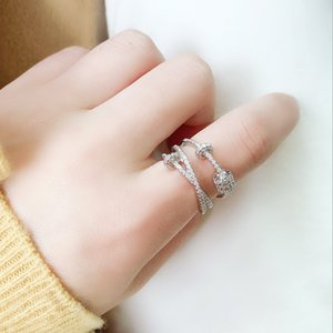 925 Sterling Silver Ring women's fashion three geometric accessories ring
