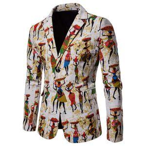 Sonbahar erkek Blazers Suits Baskılı Pamuk Kenevir Kumaş Casual Suit
