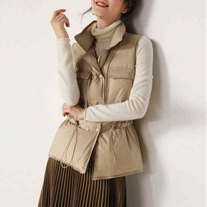 Ladies Winter White Down Vest Double Breasted Sleeveless Down Jacket Drawstring Warm Puffy Coat Winter Puffer Top Female